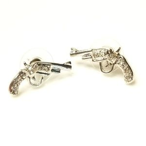SILVER CZ GUN Stud Earrings STATEMENT Earrings